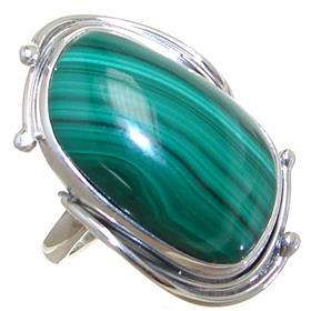 Stunning Malachite Sterling Silver Ring size P 1/2 Adjustable