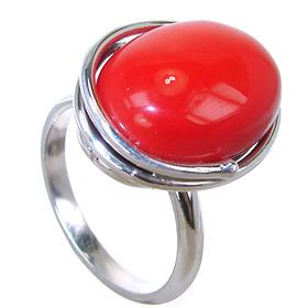 Red Coral Sterling Silver Ring size O 1/2 Adjustable