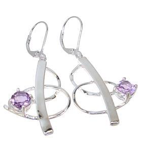 Designer Amethyst Sterling Silver Earrings