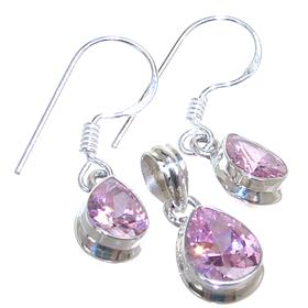 Pink Quartz Sterling Silver Set