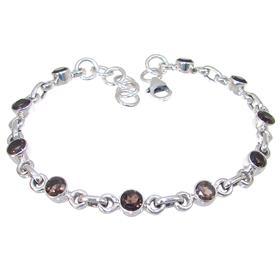 Smoky Quartz Sterling Silver Bracelet