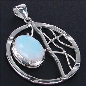 Fire Opalite Sterling Silver Pendant