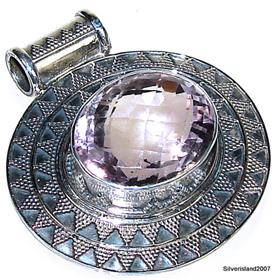 Large Amethyst Sterling Silver Pendant. Silver Gemstone Pendant.