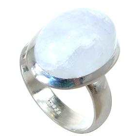 Rainbow Moonstone Sterling Silver Ring size P 1/2