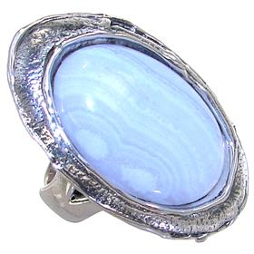 Lace Agate Sterling Silver Ring size P 1/2 Adjustable