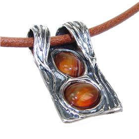 Agate Sterling Silver Necklace 18 inches long