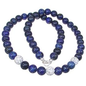 Lapis Lazuli Sterling Silver Necklace 18 inches long