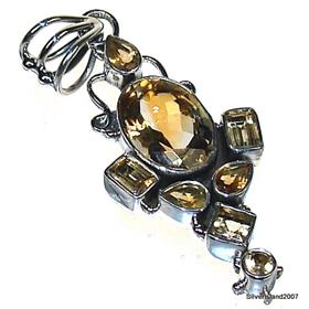 Sunny Citrine Sterling Silver Pendant. Silver Gemstone Pendant.