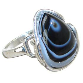 Fancy Agate Sterling Silver Ring size P Adjustable