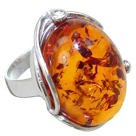 Baltic Amber Sterling Silver Ring size Q 1/2