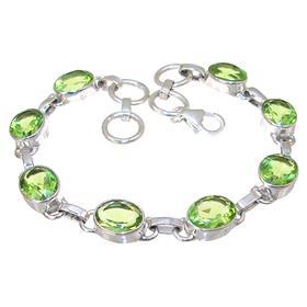 Green Quartz Sterling Silver Bracelet