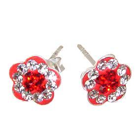 Red Crystal Sterling Silver Earrings