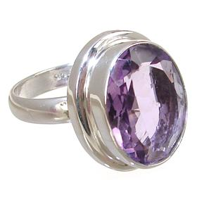 Fancy Amethyst Sterling Silver Ring size P 1/2