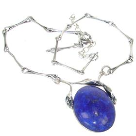 Lapis Lazuli Sterling Silver Necklace Jewellery 19 inches long