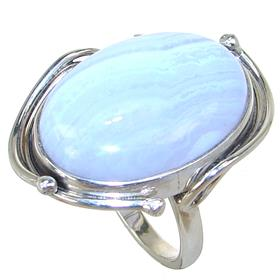 Lace Agate Sterling Silver Ring size R