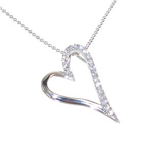 White CZ Heart Sterling Silver Necklace 18 inches long