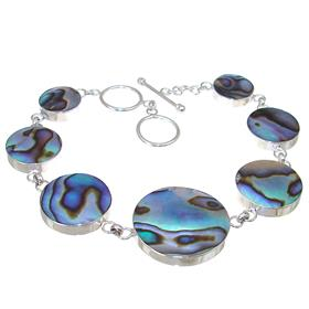 Rainbow Abalone Sterling Silver Bracelet