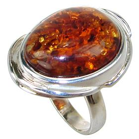 Amber Sterling Silver Ring size P 1/2 Adjustable