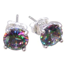 Mystic Quartz Sterling Silver Earrings Stud