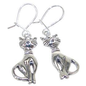 Cats Plain Sterling Silver Earrings