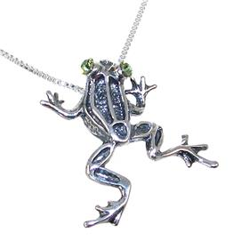 Green Crystal Sterling Silver Frog Necklace 18 inches long