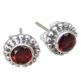 Splendid Garnet Sterling Silver Earrings Stud