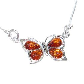 Amber Butterfly Sterling Silver Necklace 18 inches long