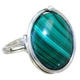 Malachite Sterling Silver Ring size P Adjustable