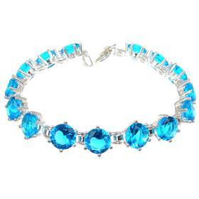Sky Blue Quartz Sterling Silver Bracelet