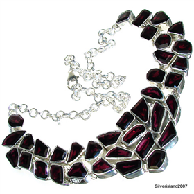 Massive Garnet Sterling Silver Necklace 17 inches long