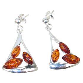 Amber Sterling Silver Earrings Stud
