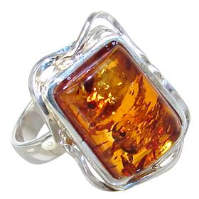 Baltic Amber Sterling Silver Ring size R 1/2 Adjustable