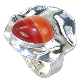 Agate Sterling Silver Ring size L 1/2