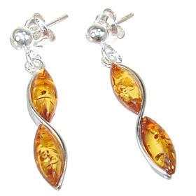 Baltic Amber Sterling Silver Earrings Stud