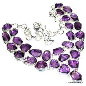Massive Amethyst Sterling Silver Necklace.Silver Gemstone Necklace.