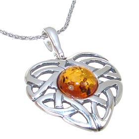 Amber Heart Sterling Silver Necklace 18 inches long