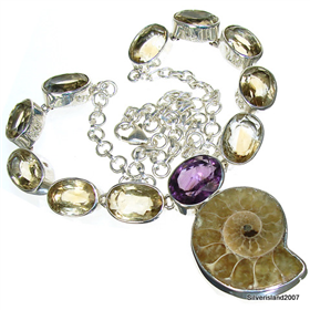 Sunny Citrine, Amethyst Sterling Silver Necklace Jewellery