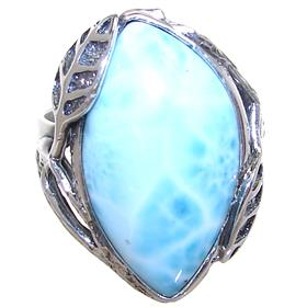 Designer Larimar Sterling Silver Ring size T Adjustable