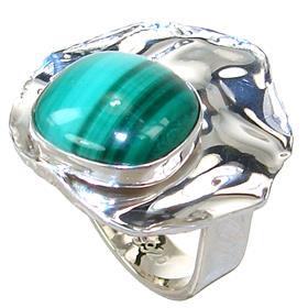 Malachite Sterling Silver Ring size M