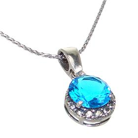 Blue Quartz Sterling Silver Necklace 20 inches long