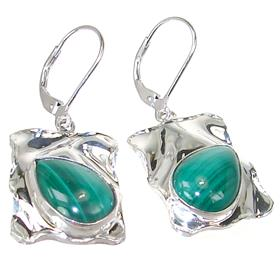 Incredible Malachite Sterling Silver Earrings