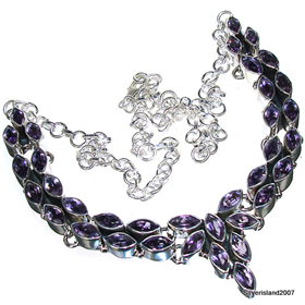 Amethyst Sterling Silver Necklace 20 inches long