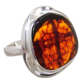 Baltic Amber Sterling Silver Ring size Q