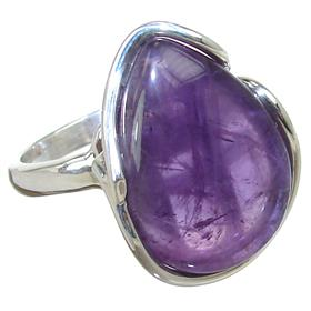 Fancy Amethyst Sterling Silver Ring size P 1/2 Adjustable