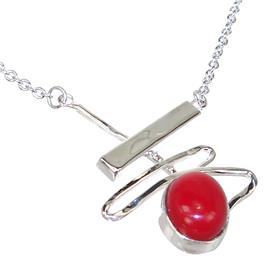 Red Coral Sterling Silver Necklace 18 inches long