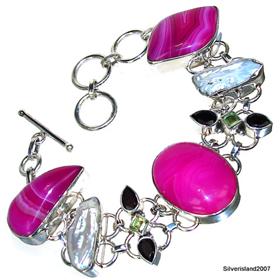 Botswana Agate Sterling Silver Bracelet. Silver Gemstone Bracelet.