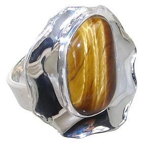 Tiger Eye Sterling Silver Ring size M 1/2