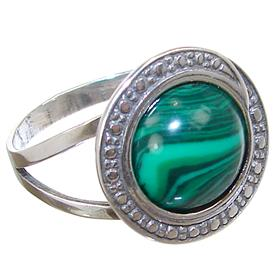 Malachite Sterling Silver Ring size N 1/2