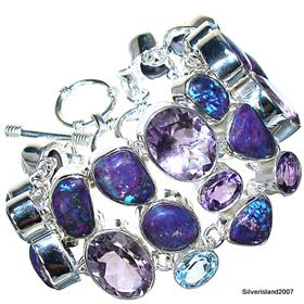 Massive Amethyst Sterling Silver Bracelet. Silver Gemstone Bracelet.