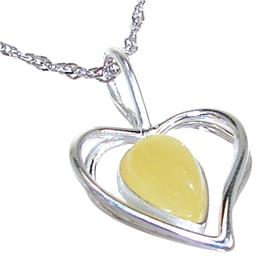 Amber Heart Sterling Silver Necklace 17 inches long